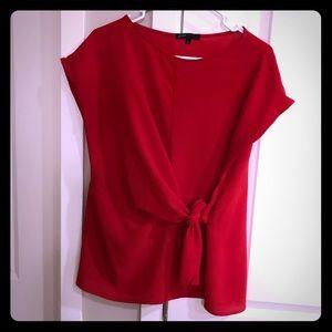 Red tie waist slimming blouse